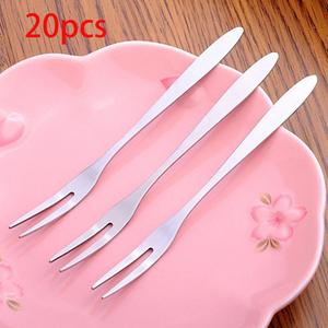 Stainless Steel Two-tine Fruit Fork Snack Cake Dessert Forks West Tableware Fruit Fork Cafeteria Home Flatware Kitchen Accessory(China)