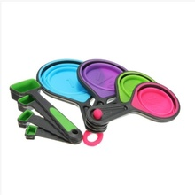 Measuring cup and spoon set collapsible measuring cup tool scale liquid dry silicone colorful цена