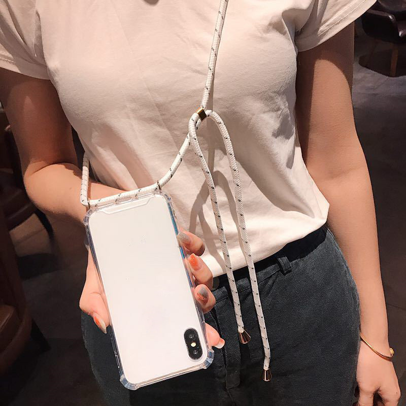 transparent <font><b>phone</b></font> case for <font><b>OPPO</b></font> <font><b>realme</b></font> 3 3pro 5 5pro <font><b>X</b></font> XT reno Z 2 2F 2Z ACE lanyard shoulder strap rope cord case cover coque image