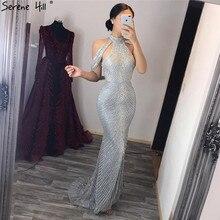 Colline sereine dubaï 2020 luxe noir perles col haut sirène robe de soirée paillettes sans manches robe de soirée formelle CLA6557