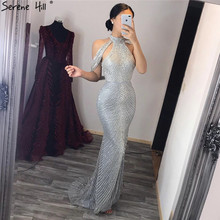 Serene Hill Dubai 2020 Luxury Black Beading High Collar Mermaid Evening Dress Sequines Sleeveless Formal Party Gown CLA6557