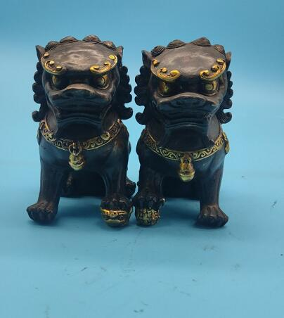 Pair of Chinese Bronze Feng shui Lion Foo Fu Dog Statue Brass