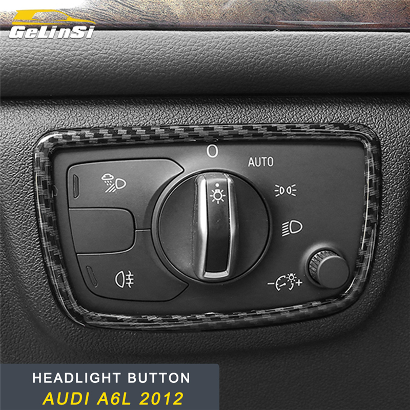 GELINSI For Audi A6 C7 2011-2019 Car Headlight Lamp Switch Button Panel Cover Frame Sticker Trim Chrome Interior Accessories