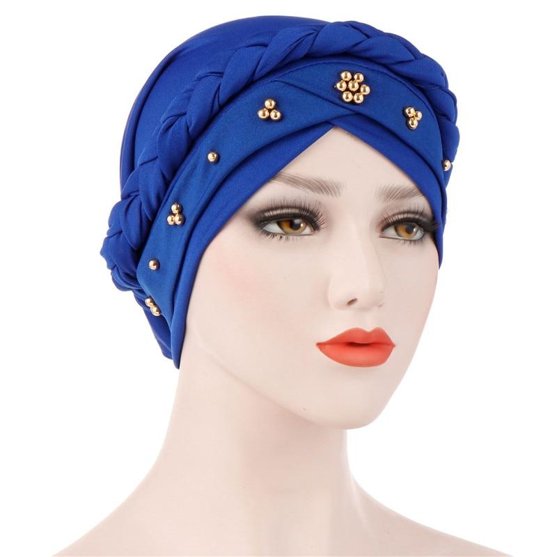 Women Turban Hijab Muslim Hijab Caps Soild Color Braid Inner Hijab Bonnet Arab Headwrap Hat Islamic Headwrap Female India Hat
