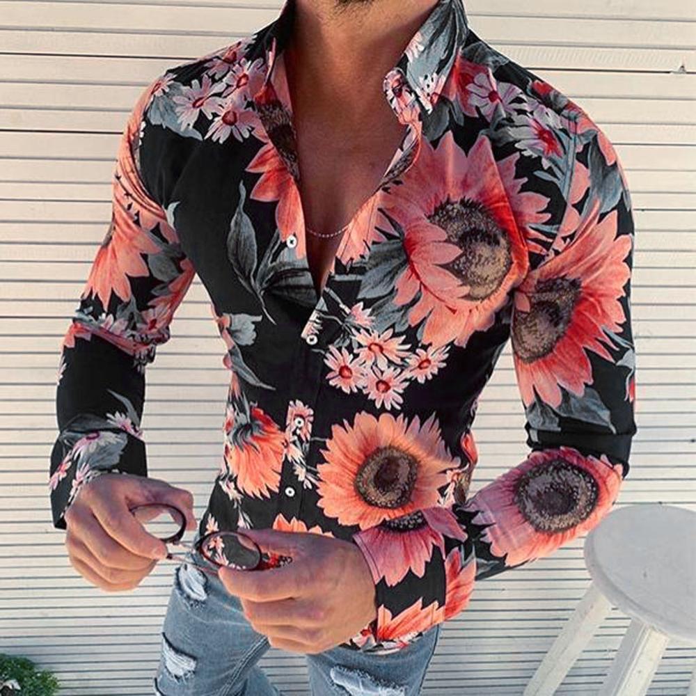 Fashion Personality Men Casual Slim Long-Sleeved Shirt Flower Print Top Slim Party Shirts Casual Male Dress Shirt Men Clothes