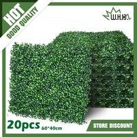 20 pces realista & grosso planta artificial folhagem grama esteira vegetação painel decoração parede cerca planta jardim casa decoração