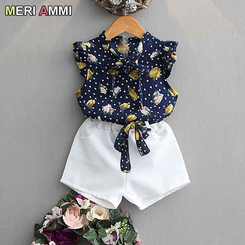 MERI AMMI 2 Pcs Outfit Set Children Girl Clothing Summer Chiffon Tee +Bowknot White Shorts Outwear For 2-7 Year Baby Girl