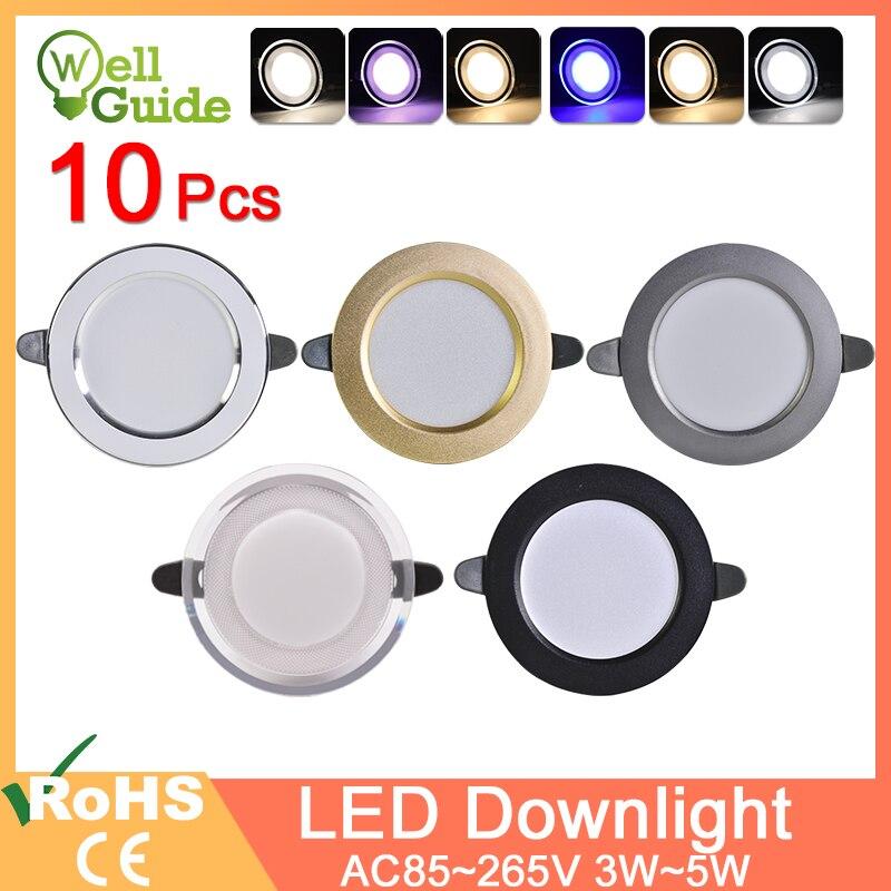 10Pcs Downlight 3w 5w spot led lights 3000k 4500K 6000K AC 220V-240V led Downlight Kitchen living room Indoor recessed lighting