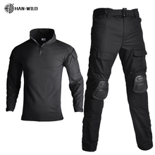 전술 위장 군사 유니폼 복장 남자 윈드 브레이커 미 육군 Airsoft 전투 셔츠 + 카고 바지 무릎 패드 플러스 8XL