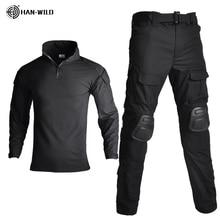 Tactical Camouflage Military Uniform Clothes Suit Men Windbreaker US Army Airsoft Combat Shirt + Cargo Pants Knee Pads Plus 8XL