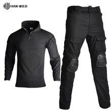 Uniforme militar de camuflaje para hombres, traje táctico rompevientos, camisa de combate Airsoft del ejército de EE. UU. y pantalones cargo con rodilleras Plus 8XL