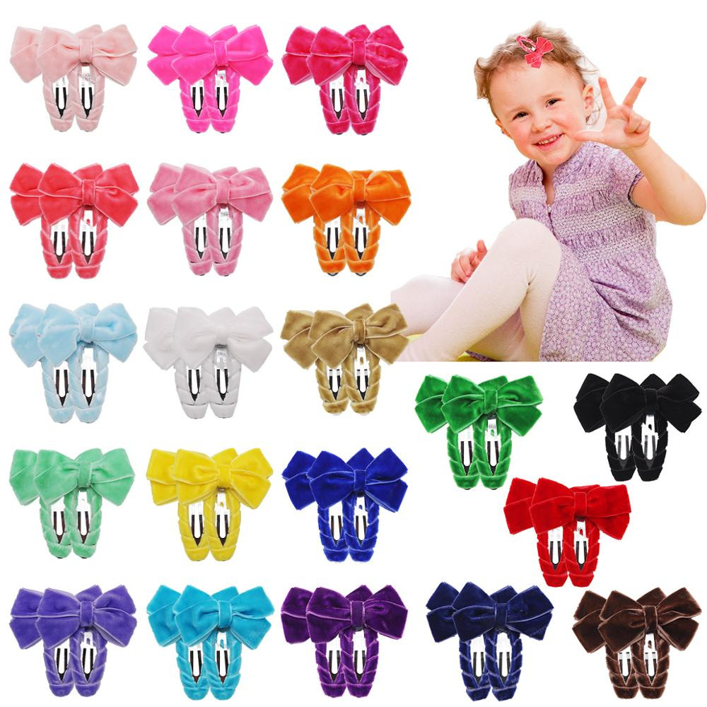 40 Pieces 20 Colors In Pairs Baby Tiny Hair Clips 2Inch Velvet Hair Bows Snap Clips Barrettes Hair Accessories For Baby Girls To