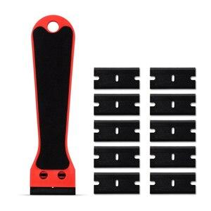Image 1 - Ehdis segurado raspador de barbear vinil carro embrulho rodo com 10 pçs lâmina de plástico matiz da janela decalque adesivo removedor ferramenta limpeza