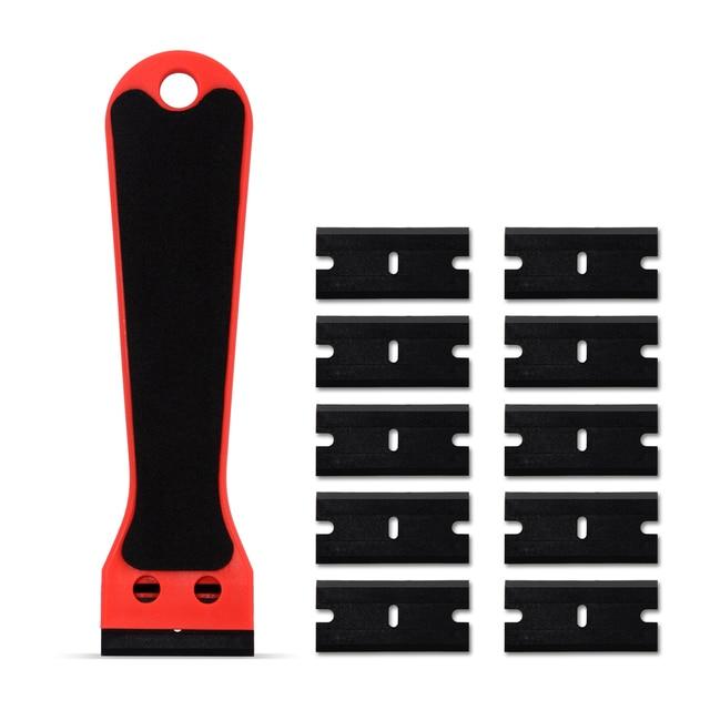 Ehdis segurado raspador de barbear vinil carro embrulho rodo com 10 pçs lâmina de plástico matiz da janela decalque adesivo removedor ferramenta limpeza