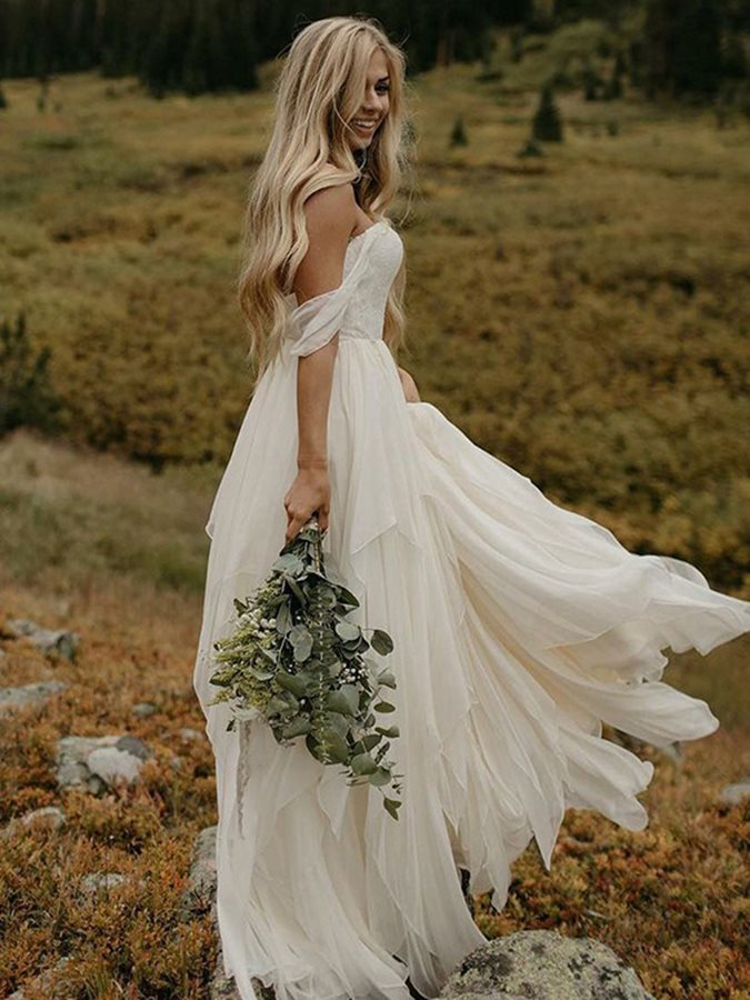2019 New Off-The-Shoulder Top Lace Beach Wedding Dresses Summer Bridal Gown Bohemian Wedding Gowns Robe De Mariage