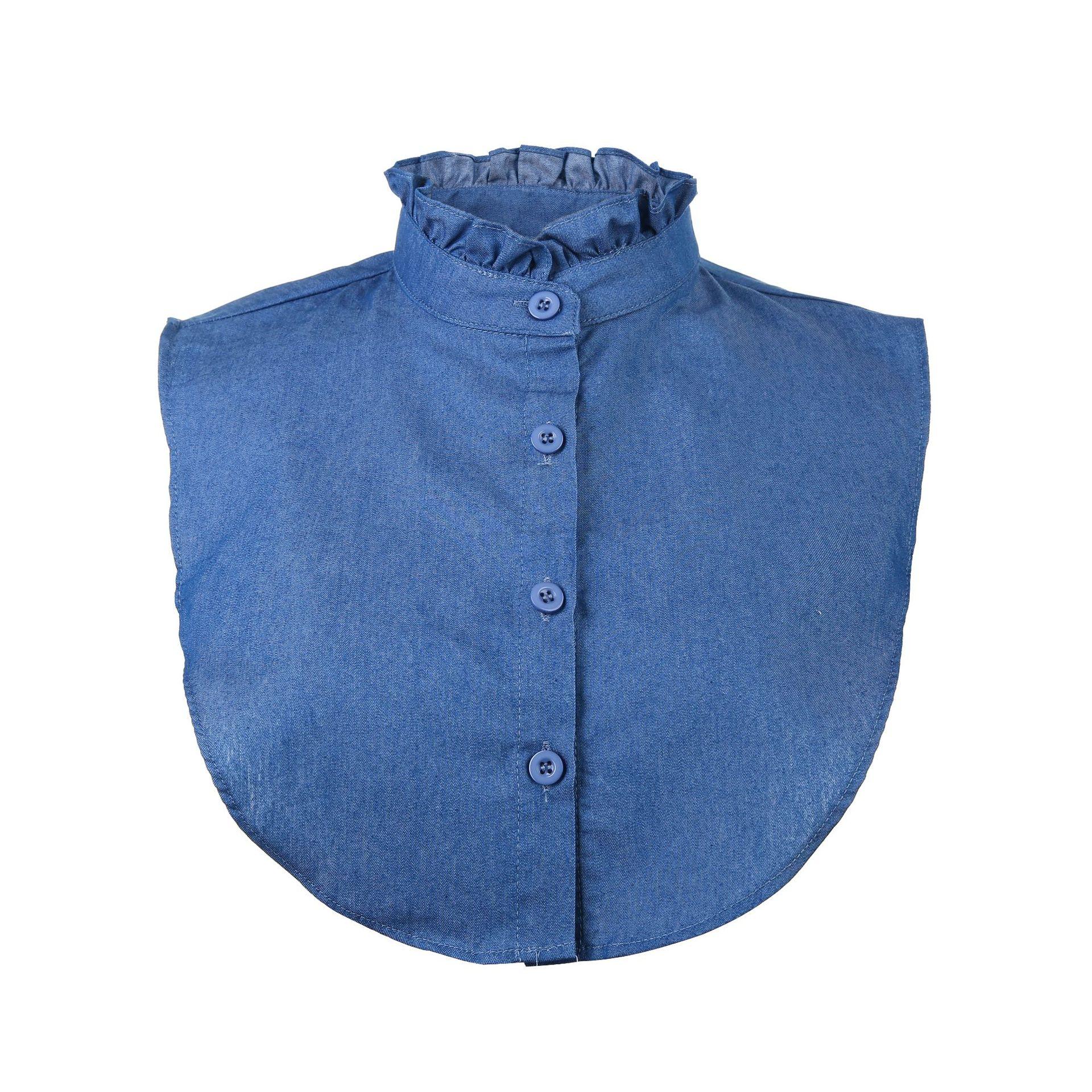 Denim Blue Underwear All Seasons Short Clothes Underwear False Collar Suit Collar Tree Fungus-like Lacework Decorative Collar
