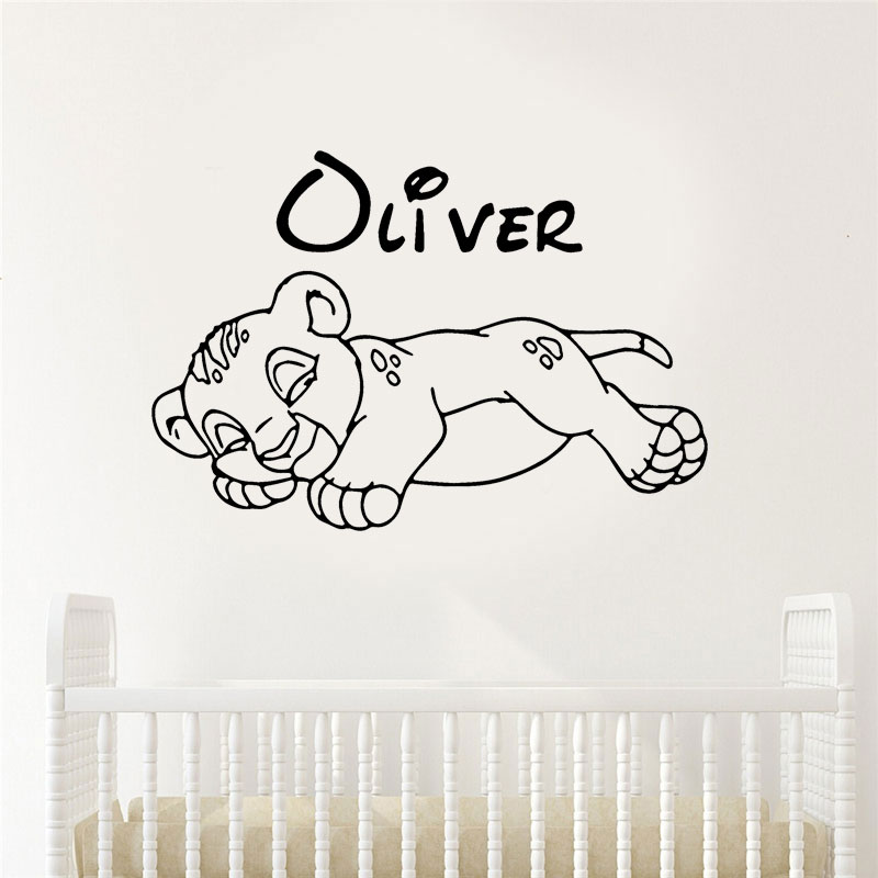 Lion Personalized Name  Wall Decal Nursery Vinyl Sticker for Home Wall decor