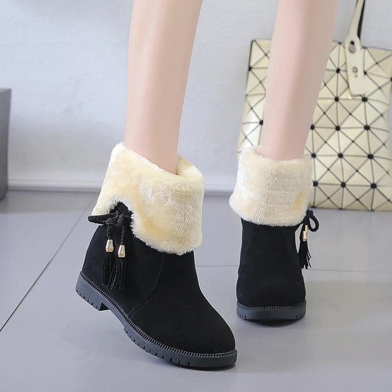 Uh8 botas de lã quente mulheres camurça