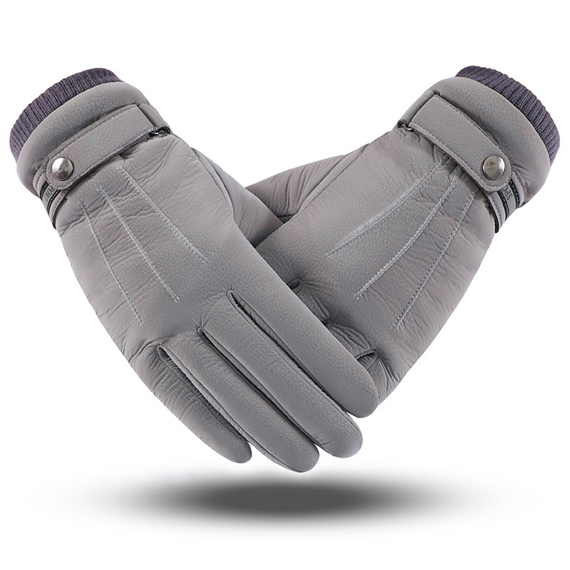 Men's Respiratory Leather Classic Three-way Stiffened Furry Thickened Touch Screen Warm Glove Riding Wind-proof And Waterproof