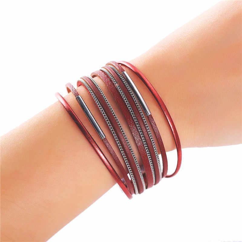 17KM klasyczny czarny czerwony wielowarstwowe skórzane bransoletki dla kobiet Man moda nowy urok para bransoletka i bransoletka 2019 Wrap szeroki biżuteria