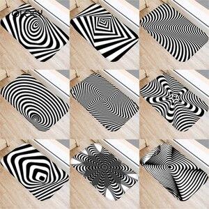 Image 1 - 40*60 センチメートル視覚誤差幾何非スリップスエードカーペットドアマットキッチンリビングルームのフロアマットホームベッドルーム装飾フロアマット。