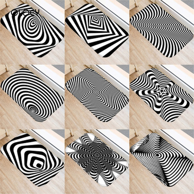 40 * 60cm Visual Error Geometric Non slip Suede Carpet Door Mat Kitchen Living Room Floor Mat Home Bedroom Decorative Floor Mat.