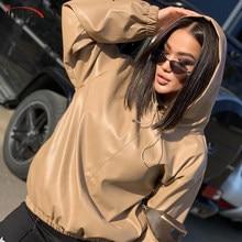 InstaHot-Sudadera con capucha de piel sintética para mujer, ropa de calle informal de invierno, sudadera Vintage lisa, sudaderas con cordón, abrigo, Top, 2021