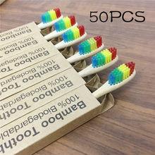 50 пакетов зубная щетка из натурального бамбука экологически чистые деревянные Радуга! Щубные щетки мягкие щетинки зубной щетки для взрослы...