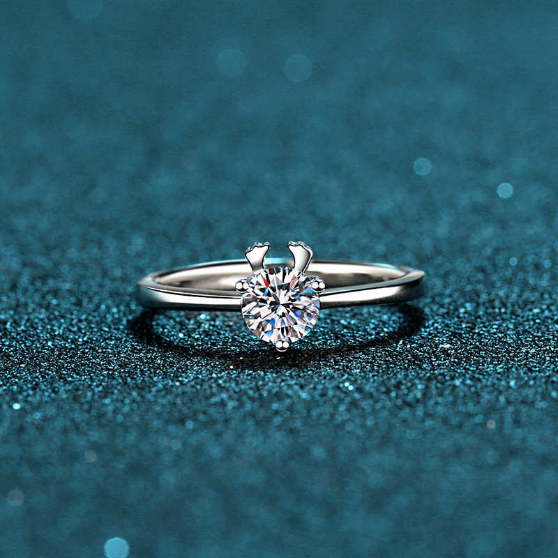 Geoki 925 Sterling Silver Cute Round Perfect Cut 0.5 ct Mossanite Deer Ring Women Real Passed Diamond Test Engagement Jewelry image