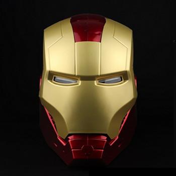 Nowy Disney 1 1 oświetlenie Led Ironman Movie Mask Marvel Avengers Iron Man Tony Stark kask Cosplay pcv zabawki figurki akcji prezent tanie i dobre opinie Model 4-6y 7-12y 12 + y CN (pochodzenie) no fire PIERWSZA EDYCJA NONE Wyroby gotowe Zachodnia animacja Produkty na stanie