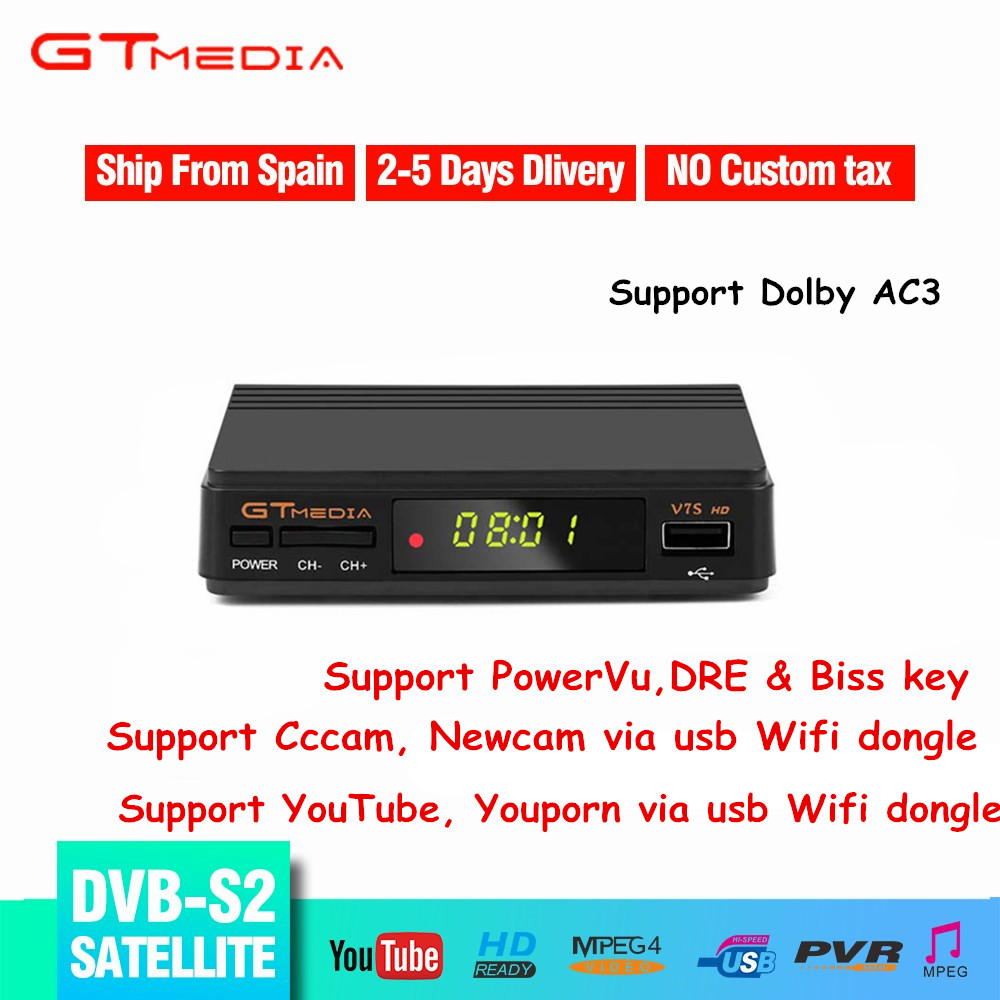 GTMEDIA Hot Sale DVB S2 Satellite Receiver Fully HD 1080p DVB S2 V7S Support CCCAM Newcam AVC/H.264 MPEG-2/4 DVB S2 TV Receiver