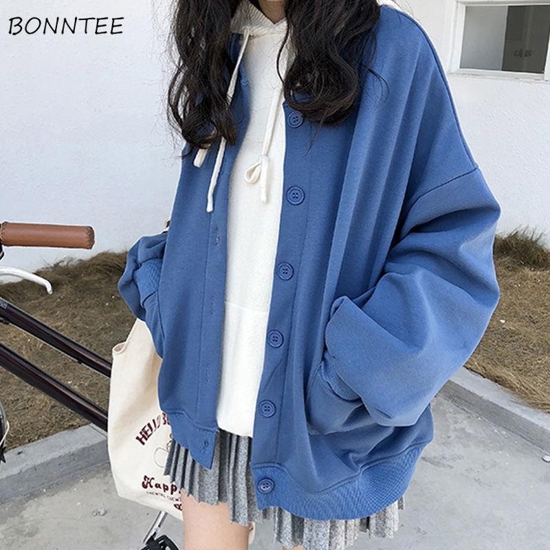 Hoodies Women Single Breasted Korean Style Simple Solid O-Neck Loose Students Korean Style Caual Womens Harajuku Pockets Zip-Up