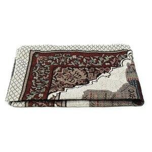 Image 5 - 110x65cm 담요 자수면 양탄자 카펫 홈 이슬람 무슬림 술 태피스트리 침실 식탁보 경량 선물 휴대용