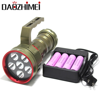 Professional Diving LED Flashlight 6*XM-L2 Waterproof Underwater Dive Torch Submarine Light Lanterns by 4*18650 battery