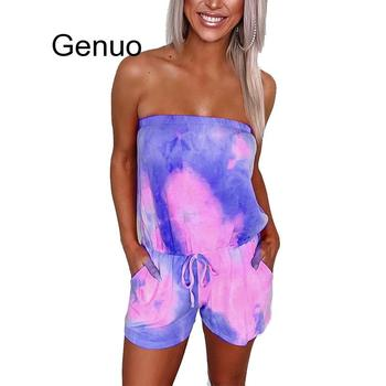 Tie-dye Print Strapless 2020 Women Playsuit Jumpsuit Summer Casual Overalls Streetwear Sexy Sleeveless Rompers Party Jumpsuit women summer tie dye print romper elastic waist short sleeve colorblock jumpsuit with pocket stylish loose casual beach playsuit