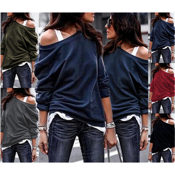 2020 New Casual Loose Hoodies Female Fashion Long Sleeve Solid Color O-Neck Sweatshirts Women Harajuku Plus Size Pullovers Tops [eam] 2020 spring trendy new personality loose big size solid color half sleeve o neck jumpsuit women ya11601