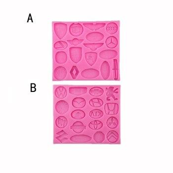 DIY molde de silicona de la nueva marca de nombre del coche con forma de logotipo, molde para hornear pastel, Chocolate, cupcakes, herramientas de decoración, molde de galletas Fondant