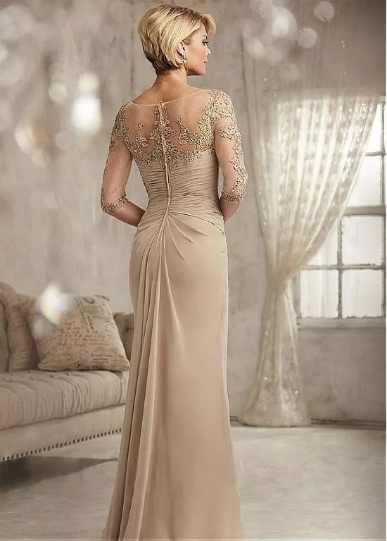 Beaded Lace Champagne Mother of The Bride Dresses Plus Size 2020 Chiffon Half Sleeves Groom Godmother Evening Dress For Wedding