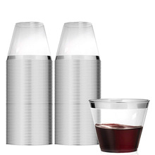 100 шт, пластиковые стаканчики с серебряной оправой, 9 унций, 250 мл, прозрачные одноразовые стаканчики, пластиковые стаканчики, свадебные, розовые, золотые, вечерние коктейльные стаканы
