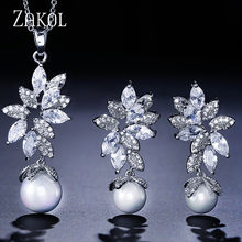 ZAKOL New Statement Brincos Micro Paved Tiny CZ Zircon Simulated Pearl Earrings Pendant Necklace Jewelry Set for Women Girl Gift(China)