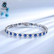 ORSA JEWELS 925 Sterling Silver Women Bracelet Created Sapphire Blue Crystal Stone Bangle Bracelet Silver Jewelry Gift OVSB02(China)