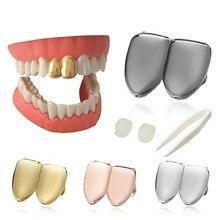 Новые хип-хоп золотые/серебряные грили зубы металлические хип-хоп поддельные зубные колпачки грили зубные рот Панк зубы гриллы Хэллоуин вечерние ювелирные изделия