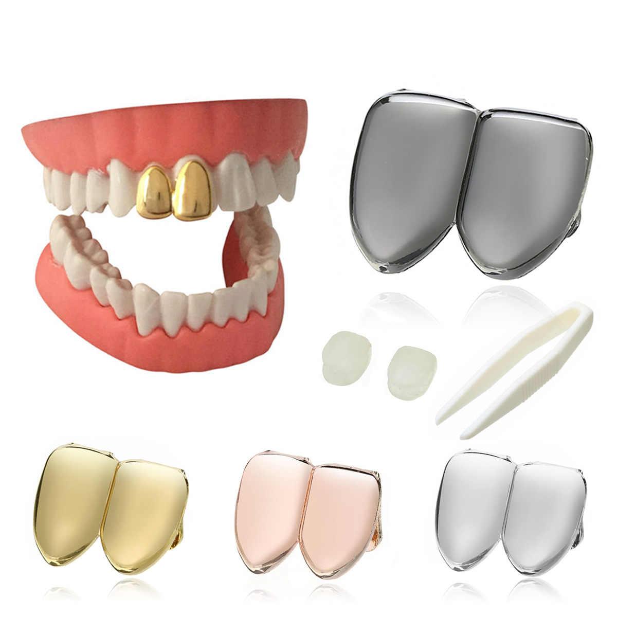 Nowy Hiphop złoto/srebro grille zęby Metal Hip hop fałszywe zęby czapki grille stomatologiczne do ust Punk zęby grillz impreza z okazji halloween biżuteria