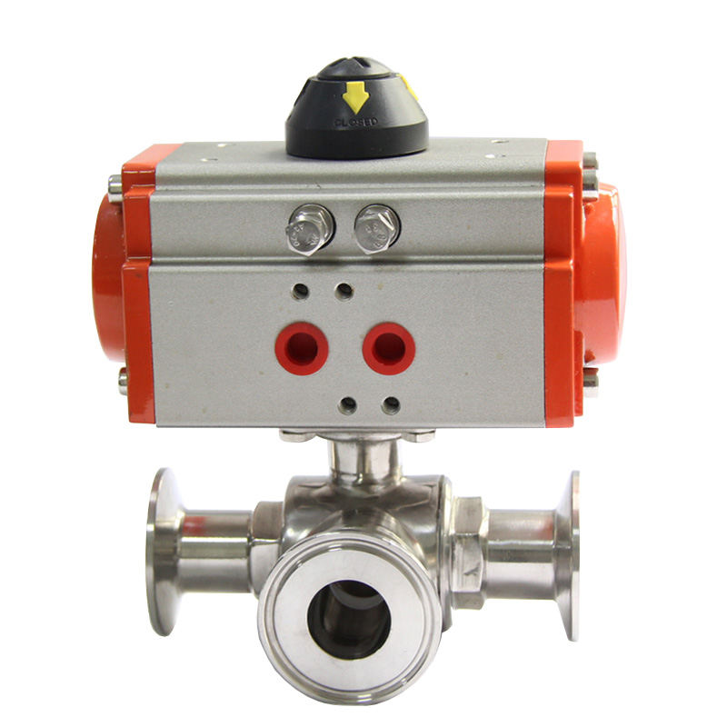 3 304 Stainless Three Way Clamp Connection L Type Sanitary Ball Valve 1.5 2-1//2 3 RanBB 3-Way Ball Valve