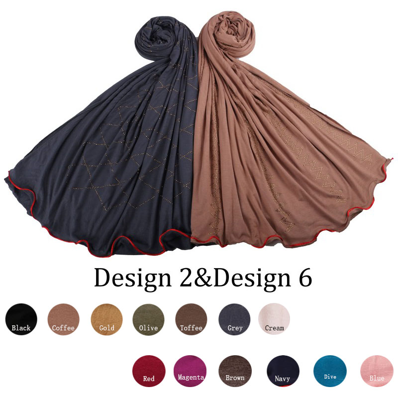 Redline D06-2020 Jersey Head Scarf With Rhine Stones And Muslim One Side Redline Stretchy Jersey Shawl For Netherlands  Women
