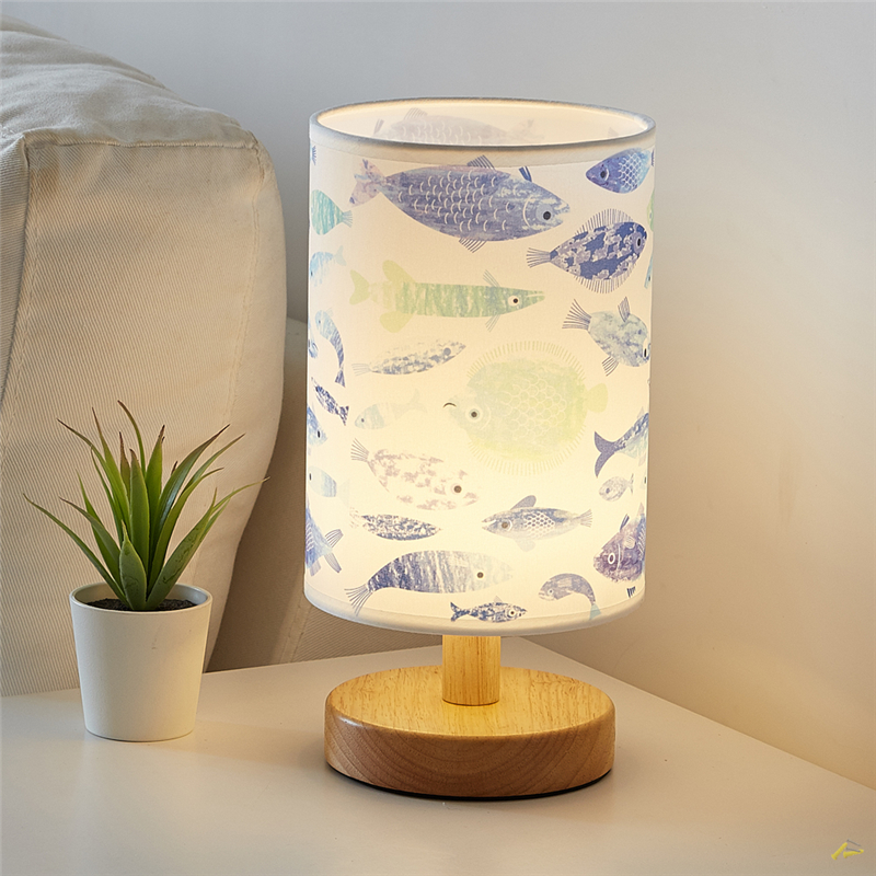 Nordic Wood Fabric LED table Lights Bedroom Bedside Decor Fabric lampshade Table Lamps Living Room Home