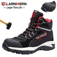 LARNMERN erkek iş ayakkabısı çelik burunlu güvenlik ayakkabıları rahat hafif Anti-smashing kaymaz inşaat koruyucu ayakkabı