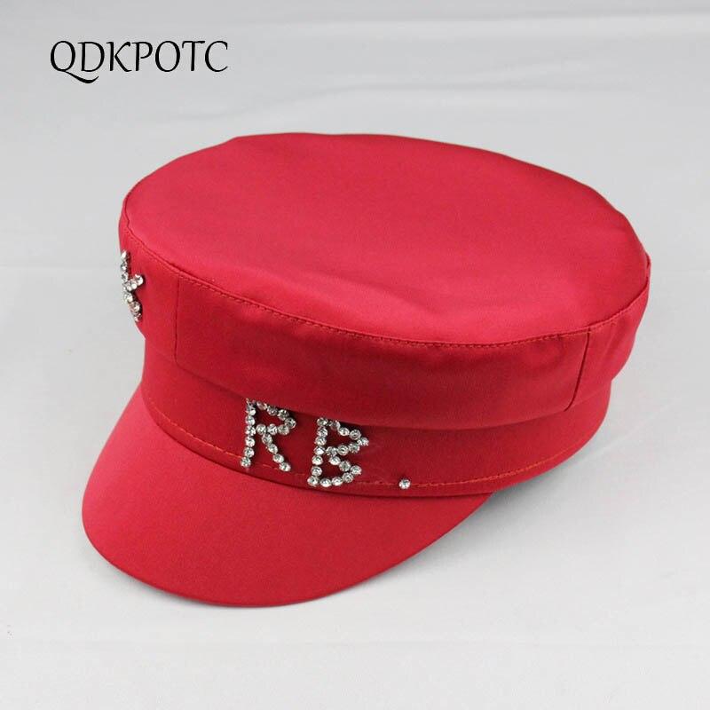 QDKPOTC 2020 New Hat Spring Summer Rhinestone Alphabet Military Hats Fashion Women Travel Leisure Satin Flat Top Cap