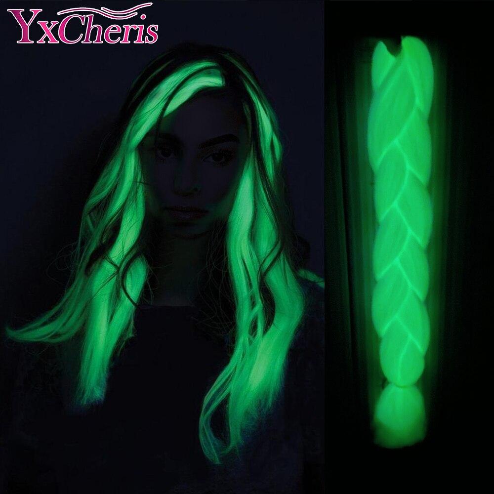 YxCheris синтетические плетеные 24 дюйма 100 г, светящиеся Джамбо косички, Сияющие волосы в темноте, светящиеся косички для волос