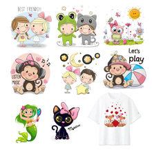 Cute Monkey Cat Heat Transfers Patches Boy Girl Animals Iron On Sticker T-shirt Dresses Patch DIY Clothes Applique Decoration F